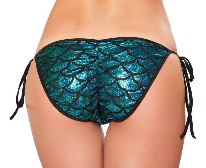 RM-3328 Mermaid Tie Side Bikini Bottom Back Blue