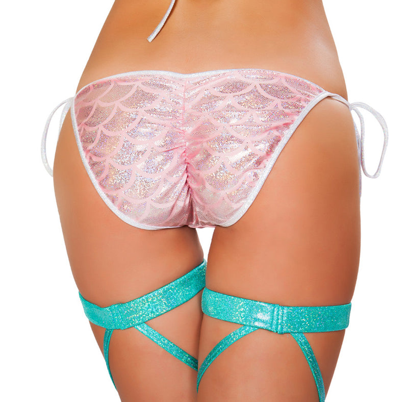 RM-3328 Mermaid Tie Side Bikini Bottom Back Pink