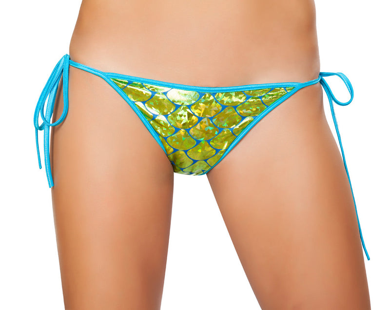 RM-3328 Mermaid Tie Side Bikini Bottom Front Lime