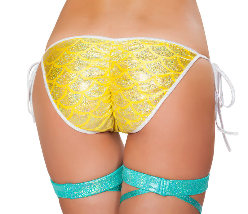 RM-3328 Mermaid Tie Side Bikini Bottom Back Yellow
