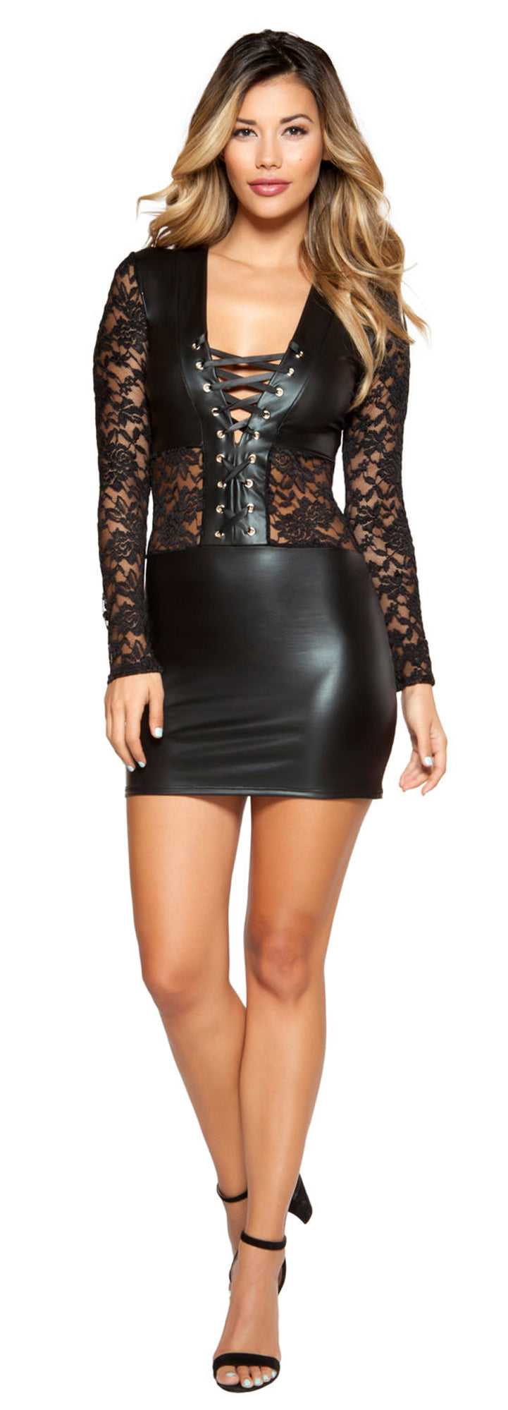 RM-3341 Lace and vinyl black mini dress front