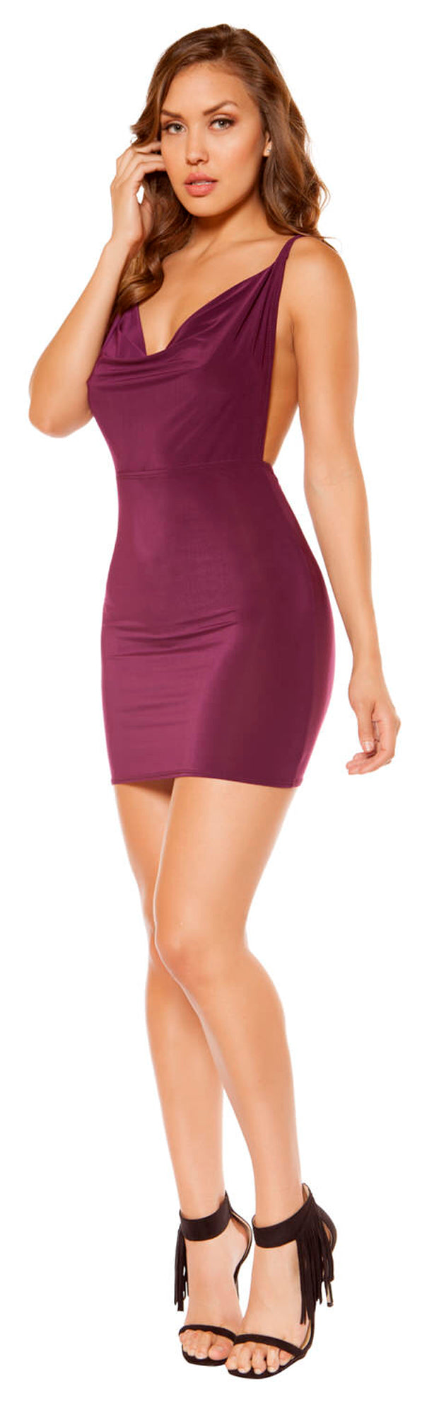 RM-3350 cowl neck mini dress PLUM front