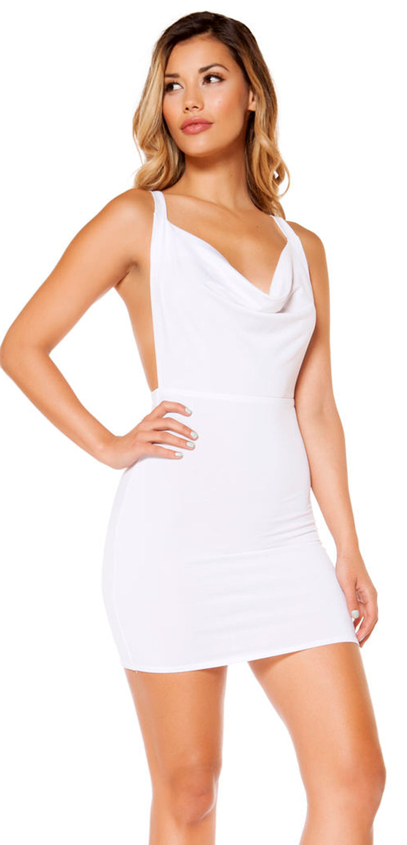 RM-3350 cowl neck mini dress white main