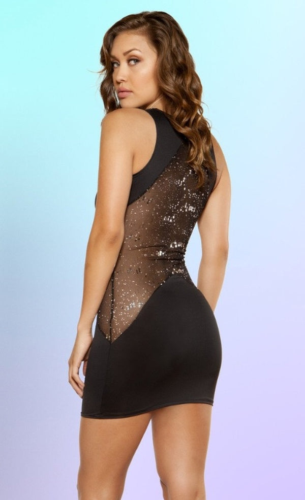 Cutout Dress with Glitter Sheer Mesh Panels