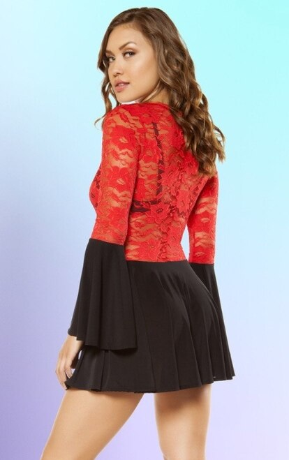 Flared Lace Dress with Cutout Detail