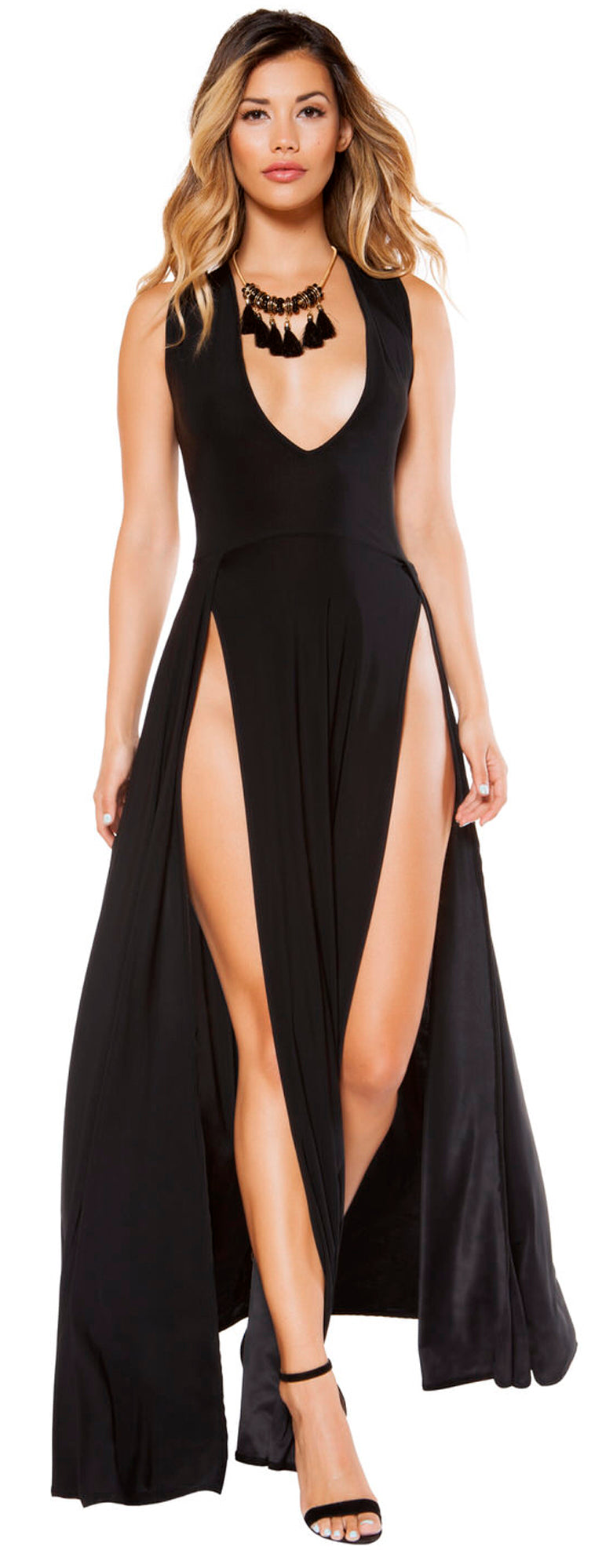RM-3396 Maxi length black dress front