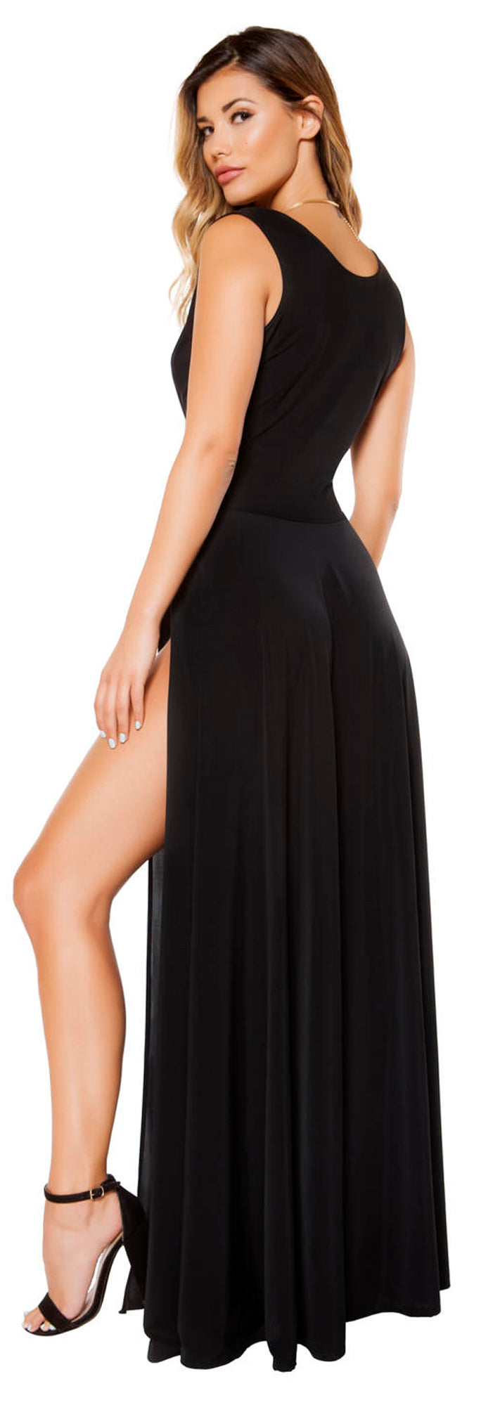 RM-3396 Maxi length black dress back