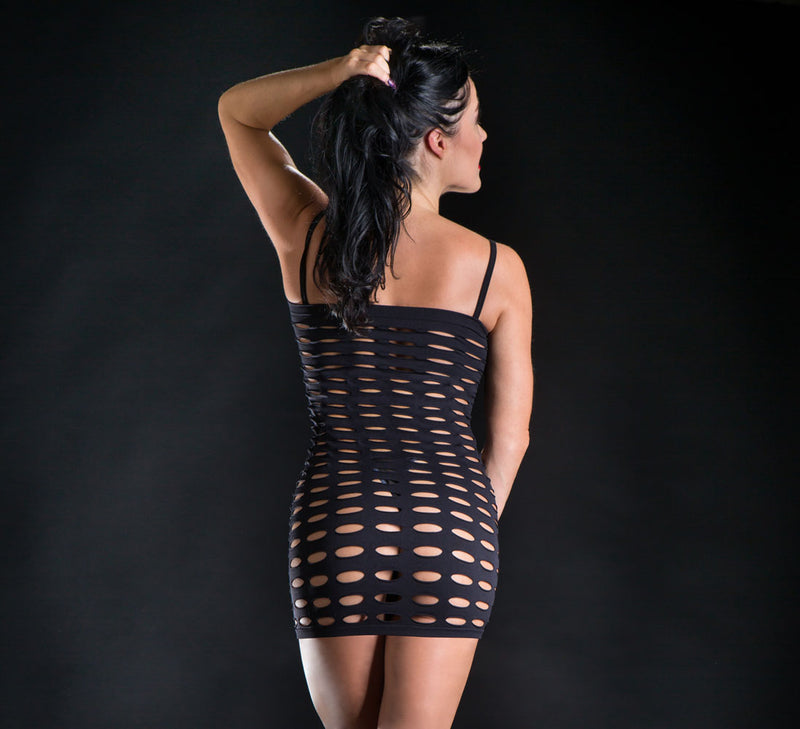 big mesh dance mini dress black mini dress