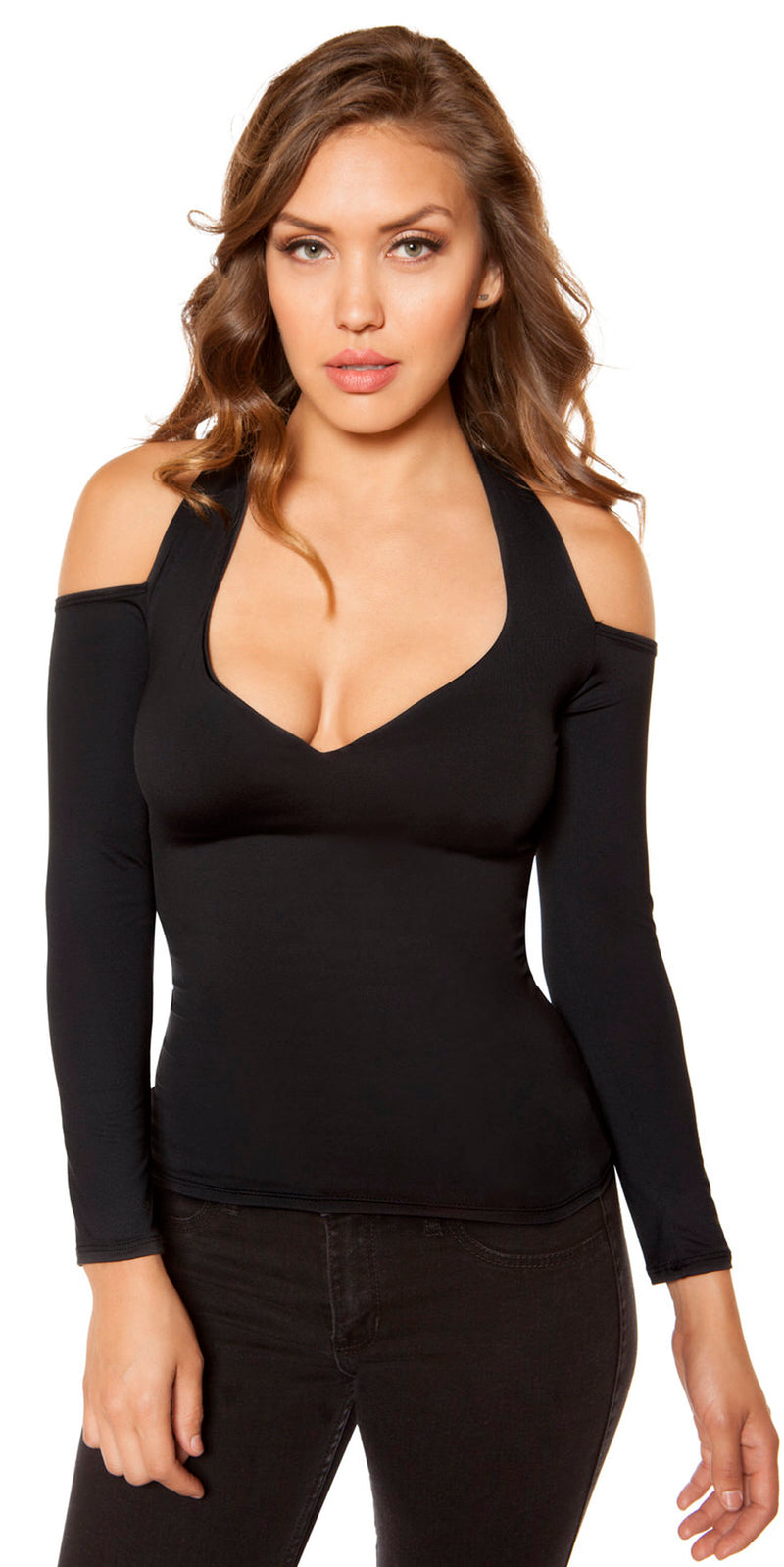 Long Sleeved Top with Cutout Shoulders Black