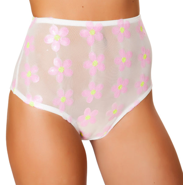 Baby Pink Flowers High Waist Shorts