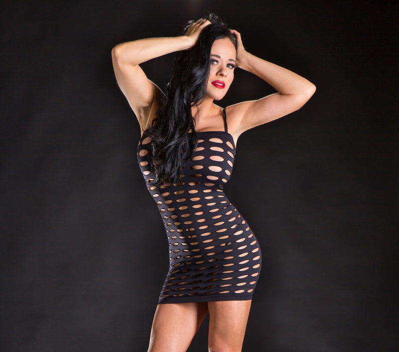 Spaghetti Strap Mesh Black Mini Dress