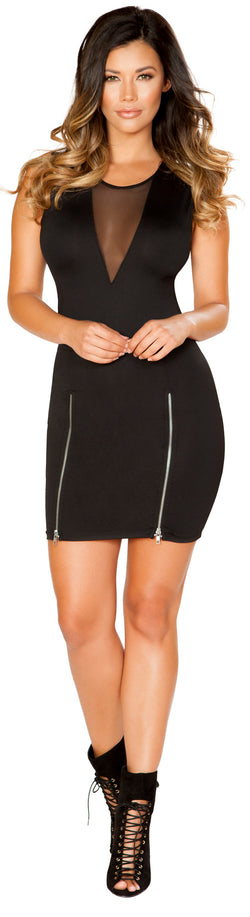 Mini Dress with Double Slit Zipper Detail