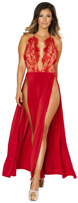 RM-3530 Red Lace Maxi Dress