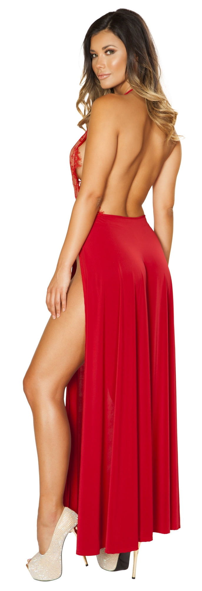 RM-3530 Red Lace Maxi Dress back