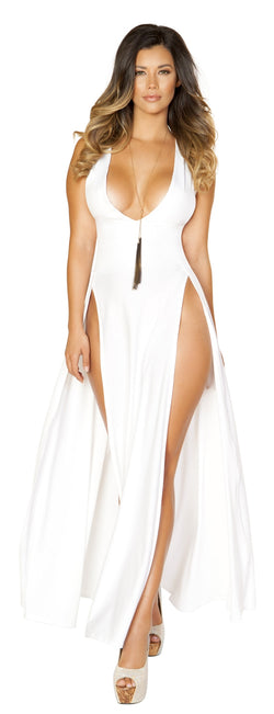RM-3533 V neckline high cut maxi white dress front