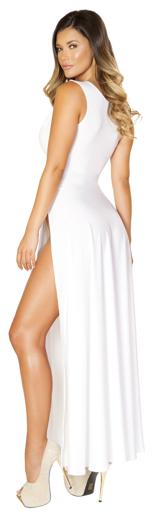 RM-3533 V neckline high cut maxi white dress