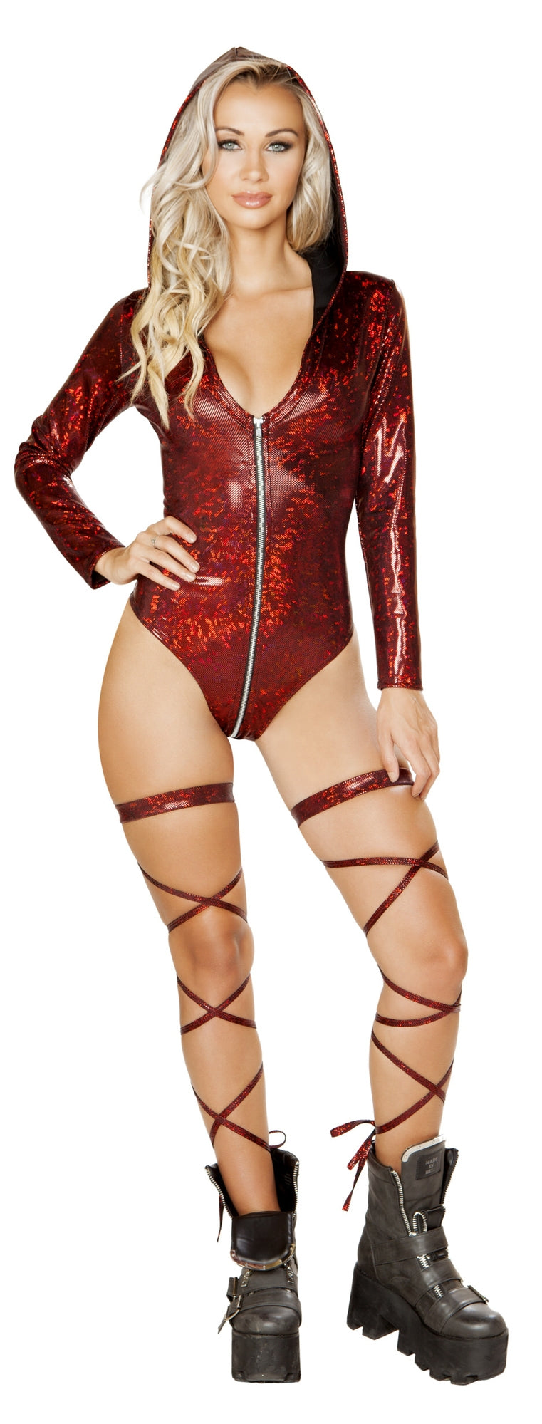 RM-3575 Long sleeve hooded bodysuit features red front