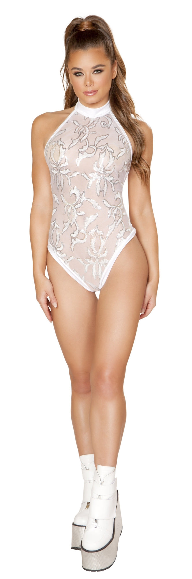 RM-3582 One piece front sheer and sequin high neck romper