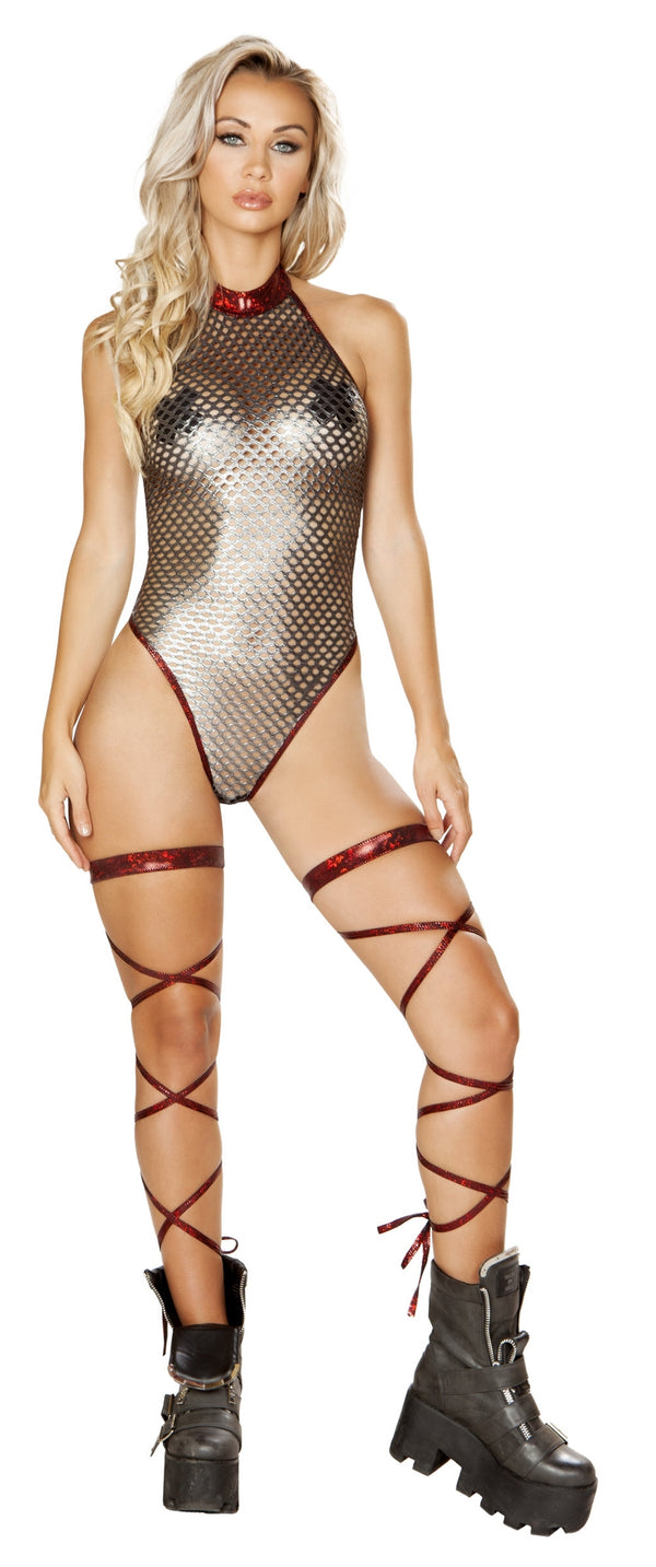 RM-3583 High neck metallic fishnet romper front