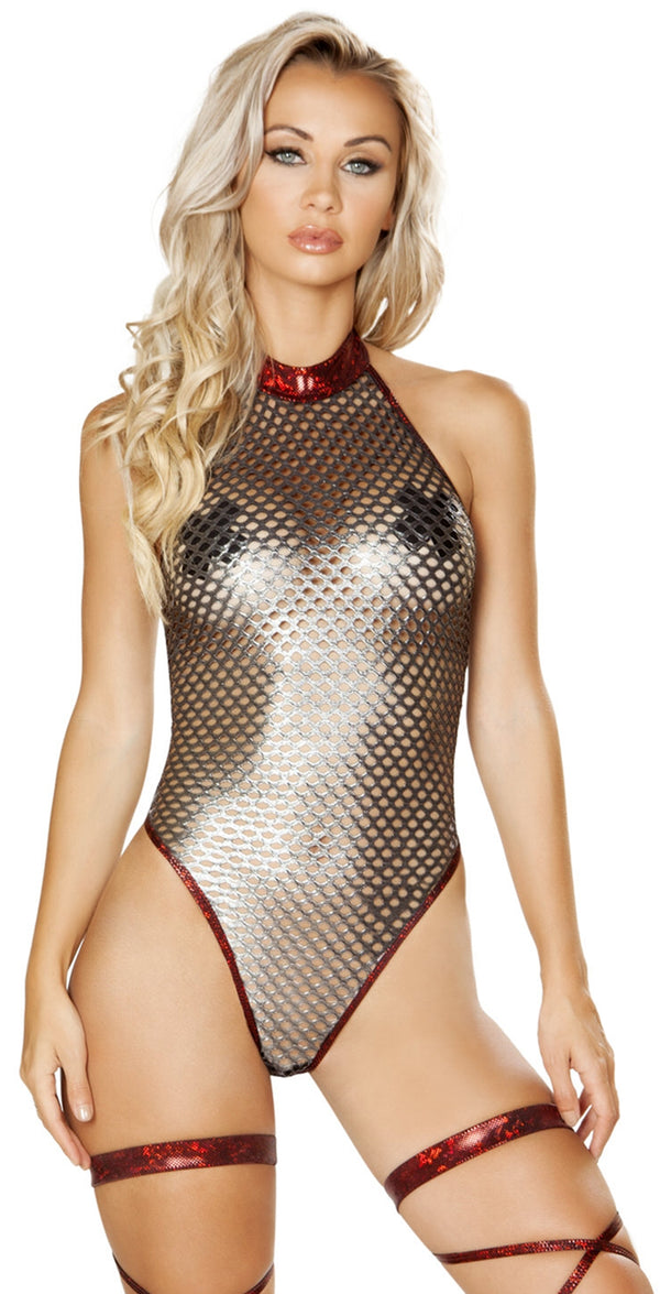RM-3583 High neck metallic fishnet romper main