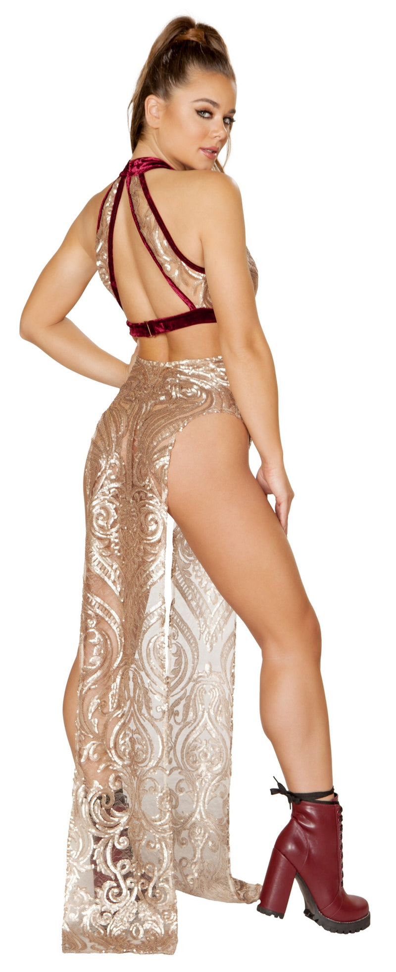 RM-3597 High open slits sequin skirt back