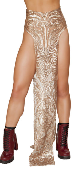 RM-3597 High open slits sequin skirt