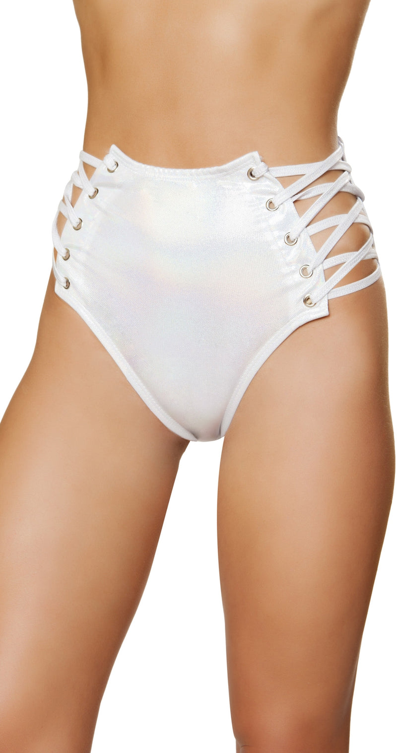 RM-3604 Iridescent high waisted shorts white