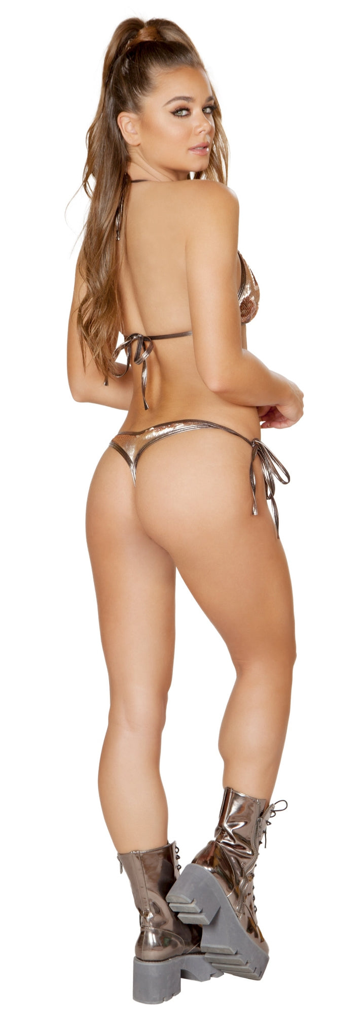 RM-3625-RG Rose gold low rise tie side sequin bikini back