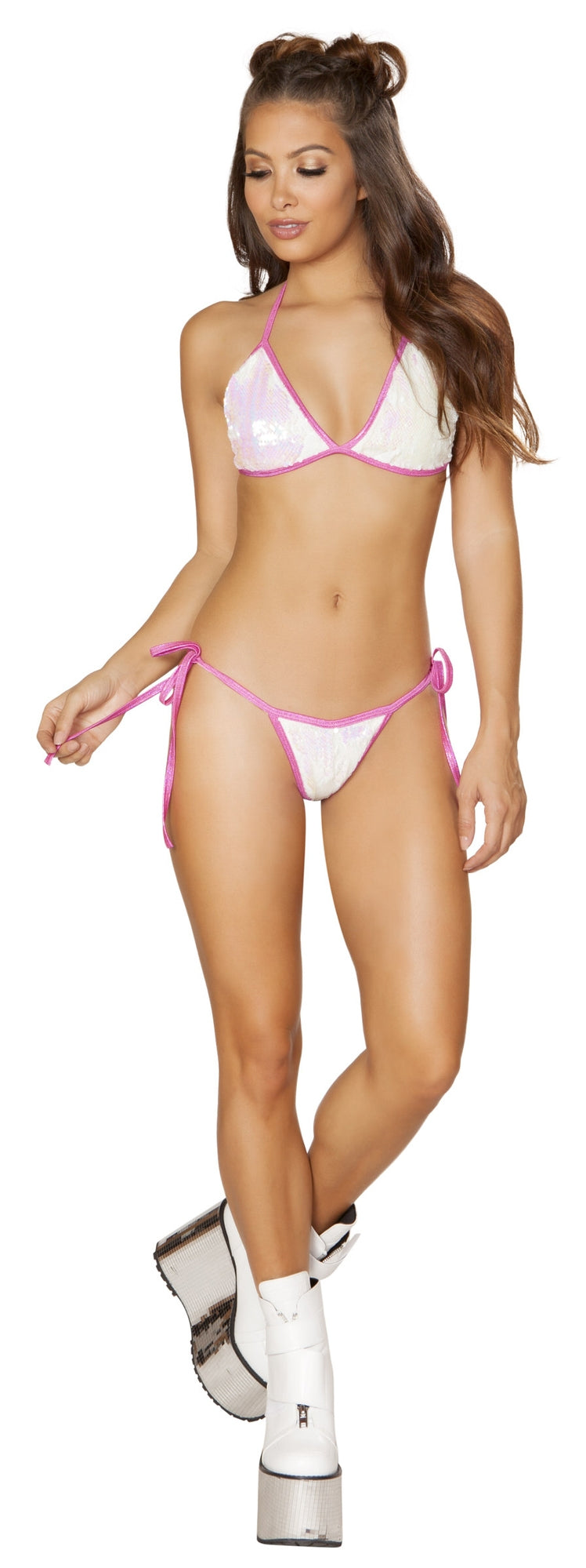RM-3625-WP White pink low rise tie side sequin bikini front
