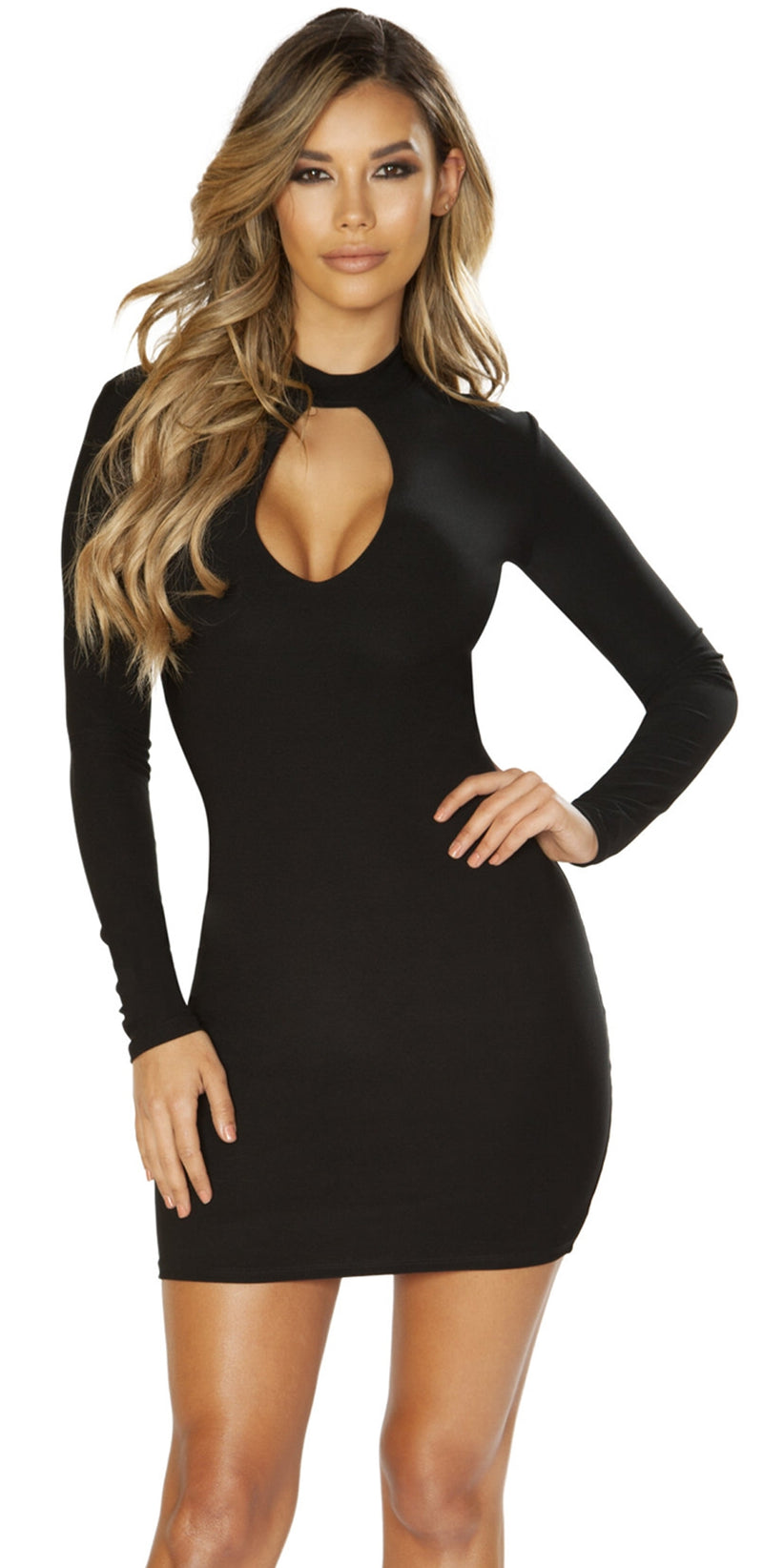 RM-3643 Classy black long sleeves mini dress main