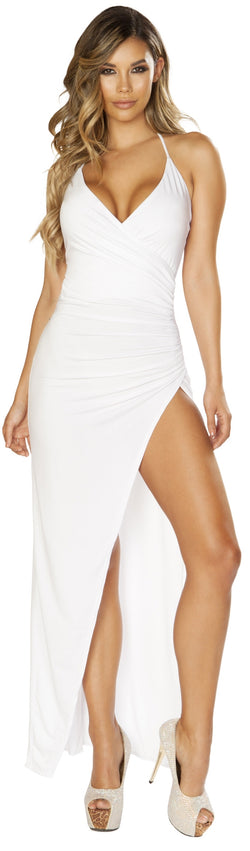 RM-3654 Ruched Maxi White Dress
