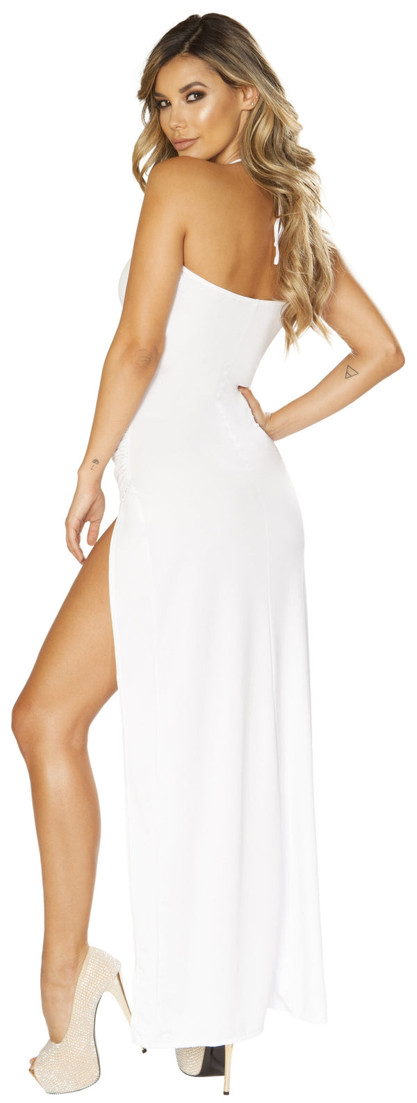 RM-3654 Ruched Maxi White Dress back