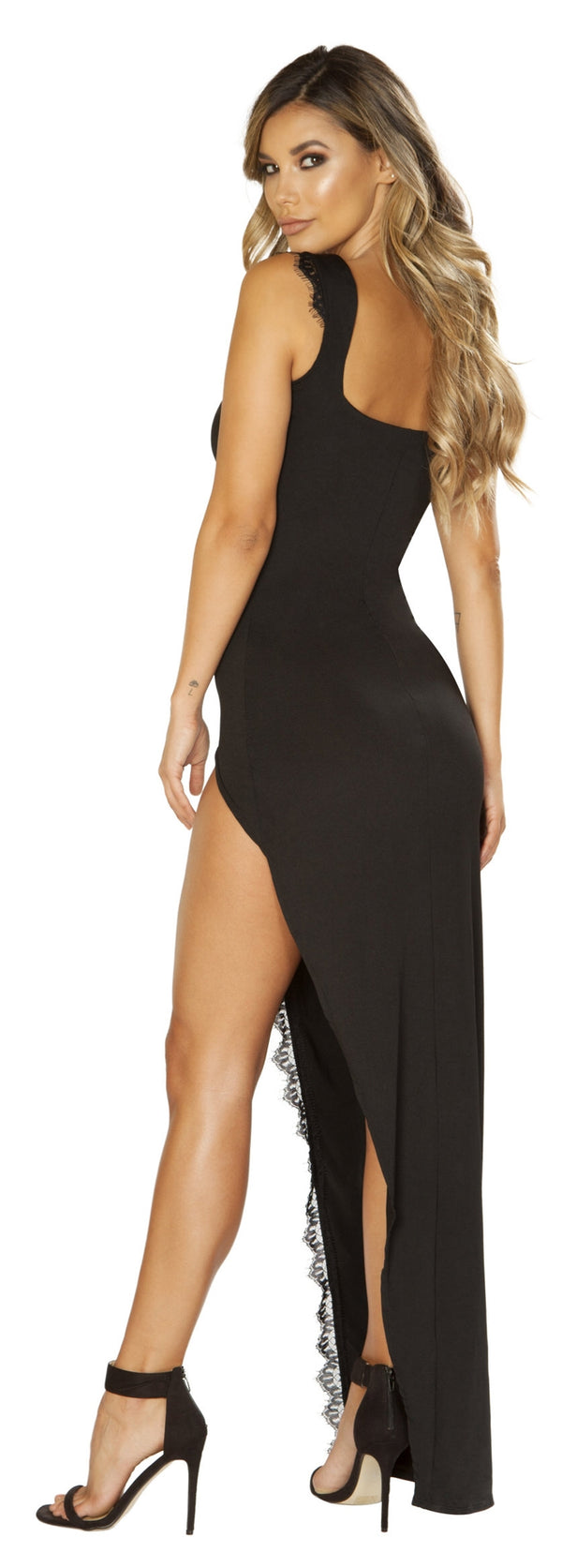 RM-3655 Maxi length black dress back