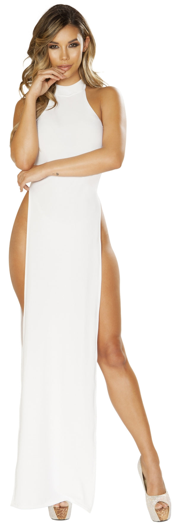RM-3656 High Cut White Maxi Dress with high side slits