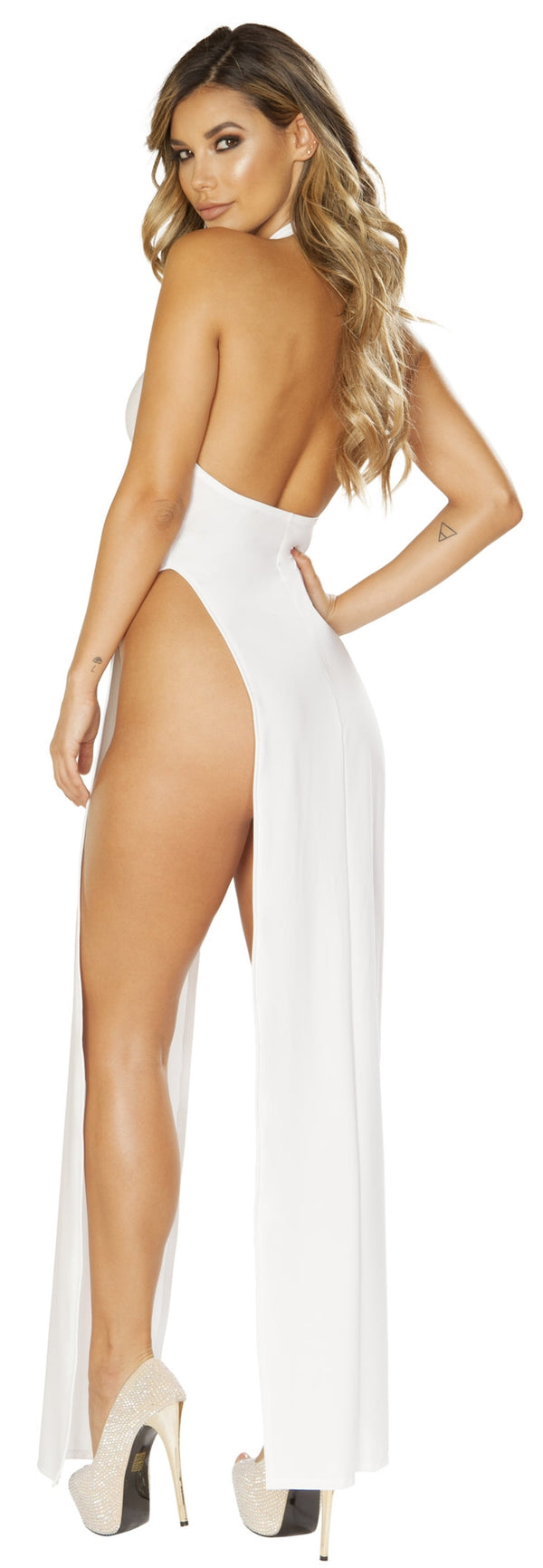 RM-3656 High Cut White Maxi Dress with high side slits back