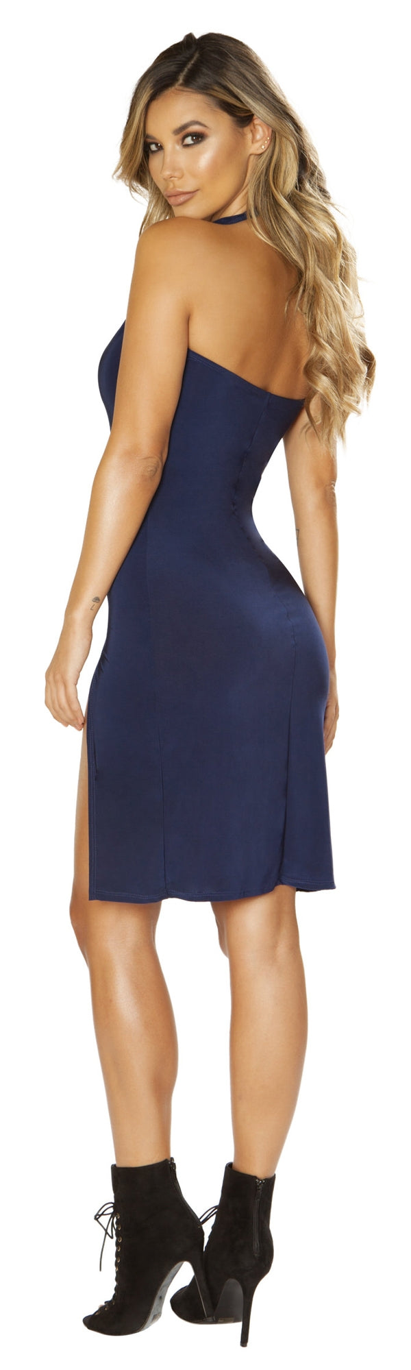 RM-3661 Navy blue low neck dress