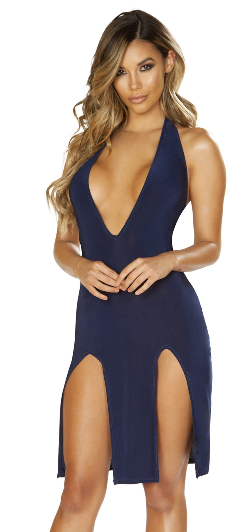 RM-3661 Navy blue low neck dress main