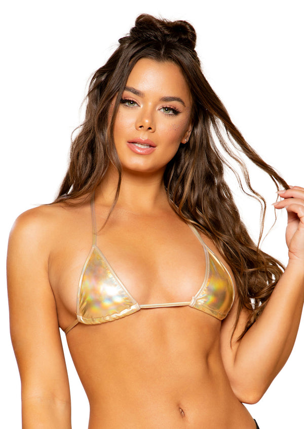 Gold Metallic Foil Triangle Bikini Top