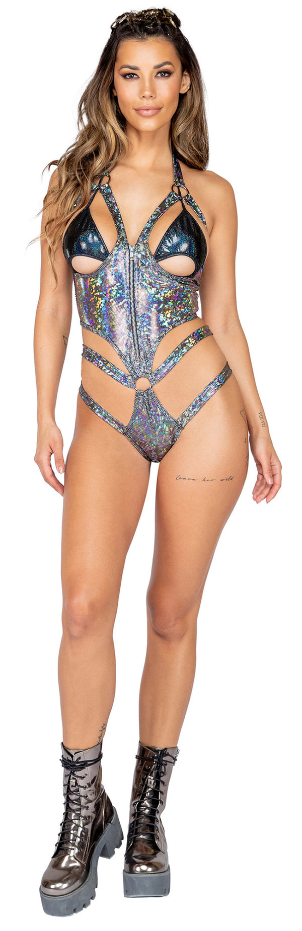 1pc Open Cup Shimmer Romper