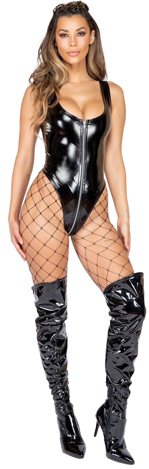 Latex Romper with Zipper Closure