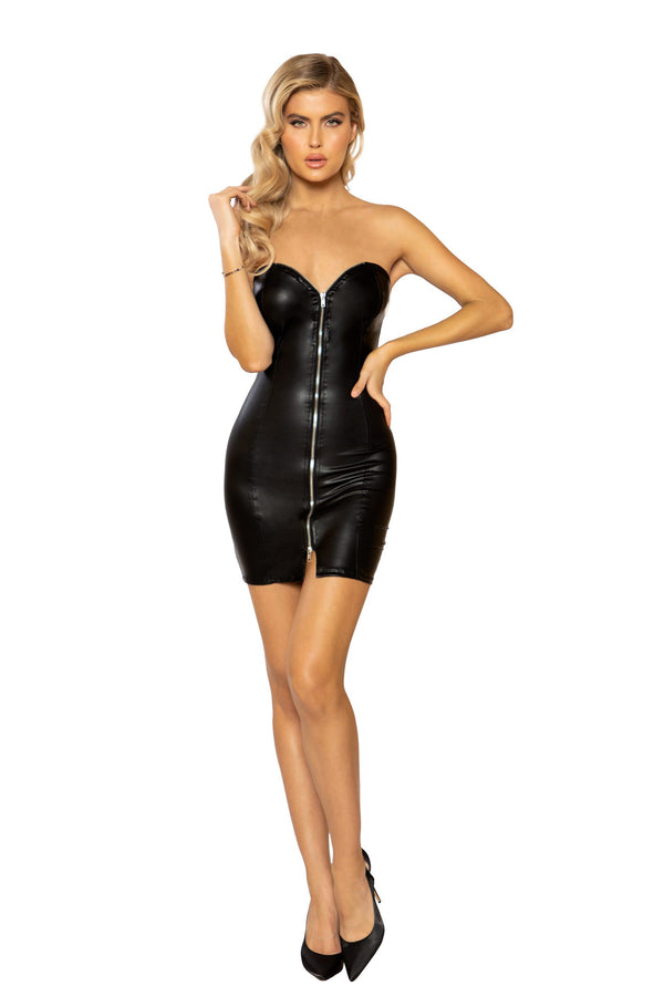 Black Front Zip Mini Dress