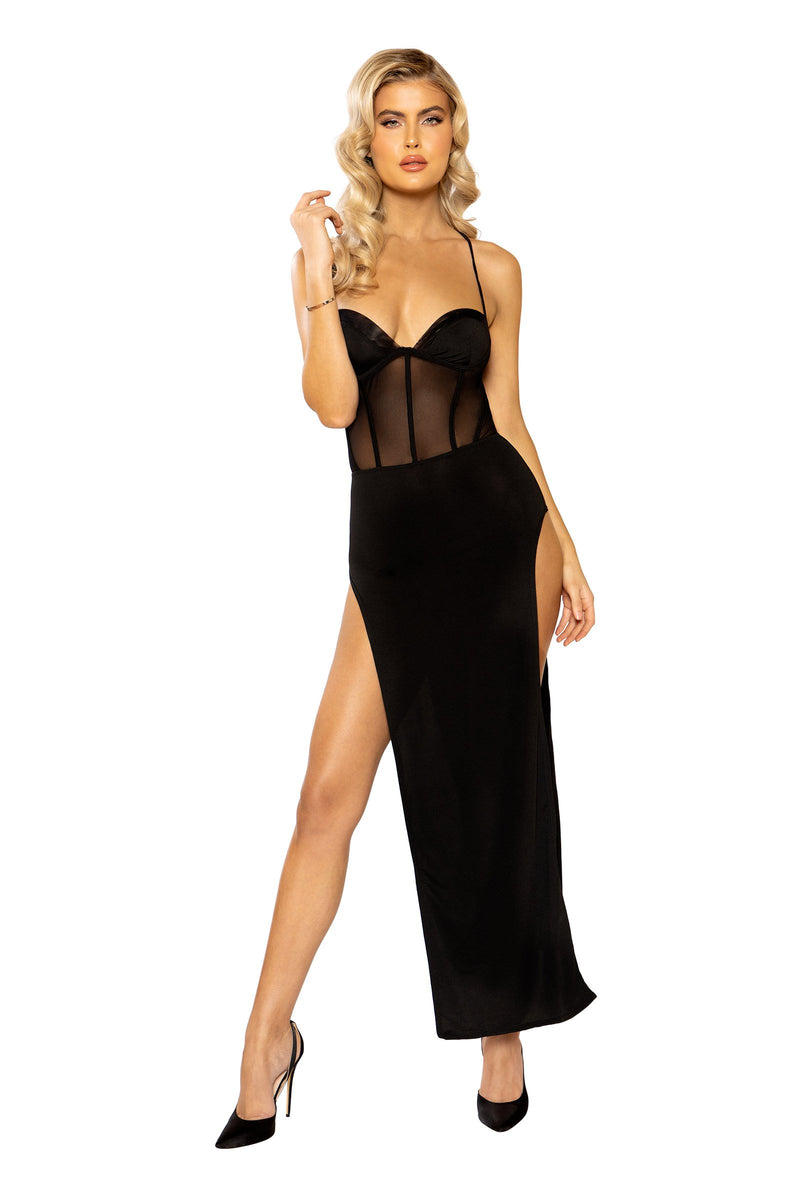 Sheer Mesh Corset Look Maxi Length Dress