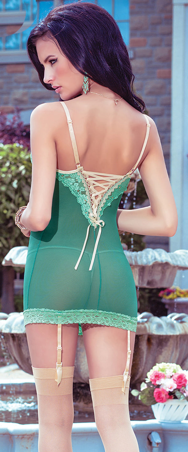 Green Lace Garter Chemise Back CQ4020