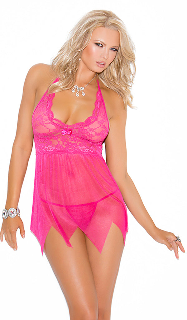 Pink Lace and mesh babydoll EM4078