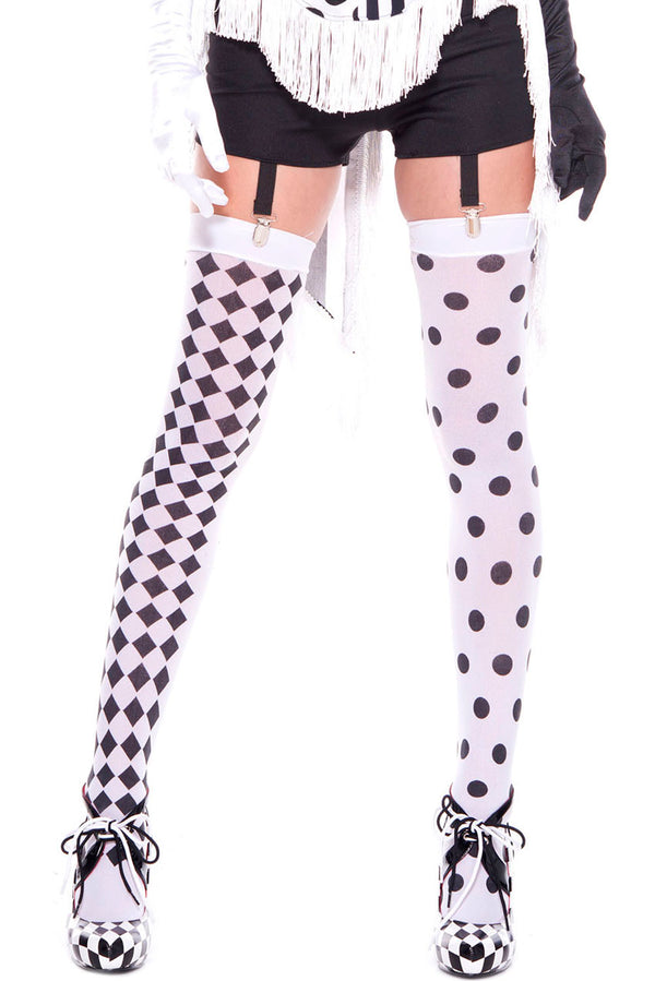 Diamond Design and Polka Dot Harlequin Thigh High