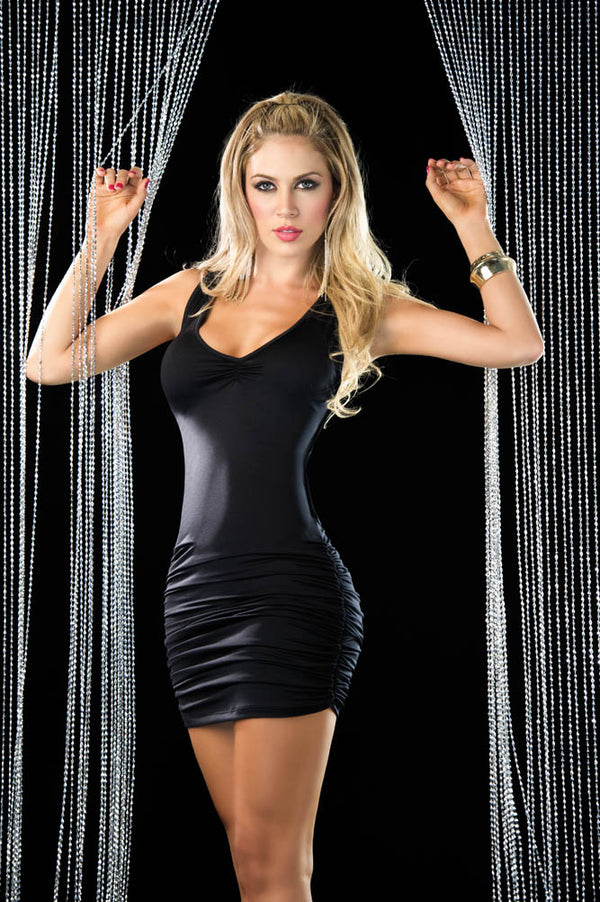 Criss-Cross Mini Dress Black Front ES4183