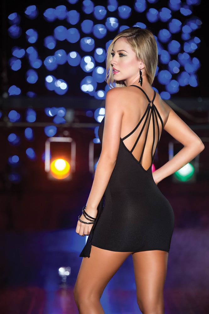 Black Strappy Mini Dress Back ES4202