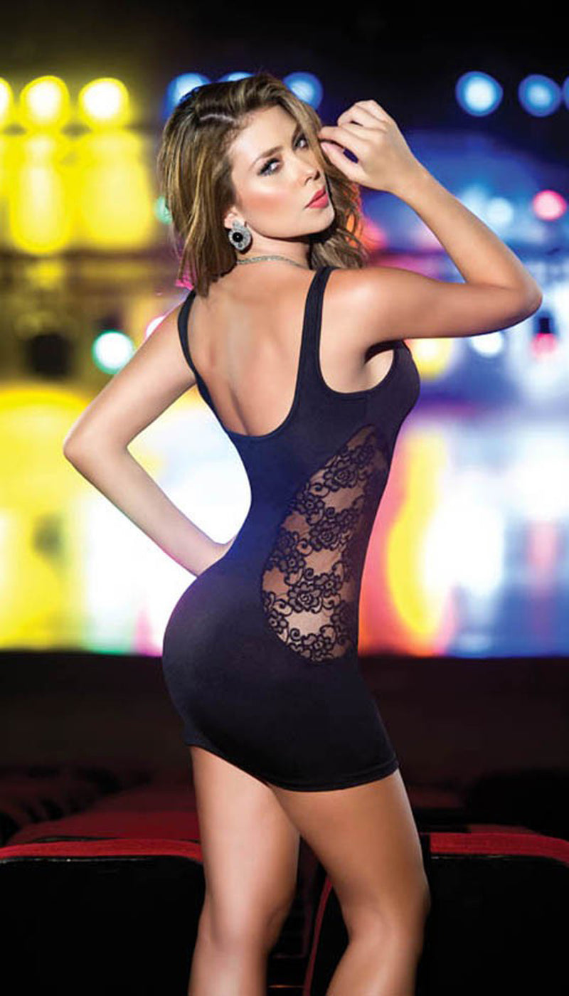 Black Classic Tank Mini Dress Back ES4203BLK