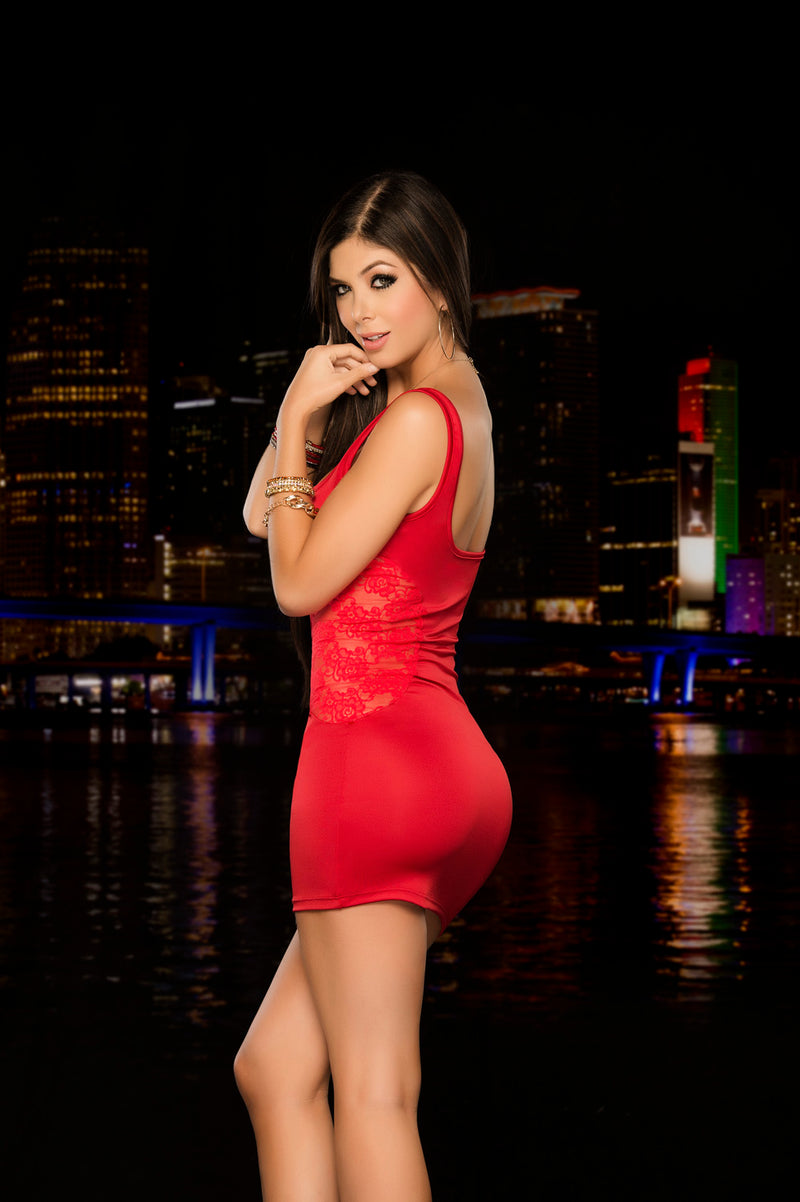 Red Classic Tank Mini Dress Back ES4203RED