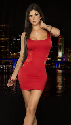 Red Classic Tank Mini Dress Front ES4203RED